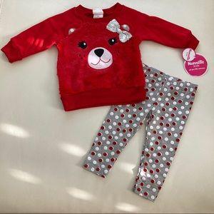 Nannette Christmas Bear Cute Soft Leggings top set